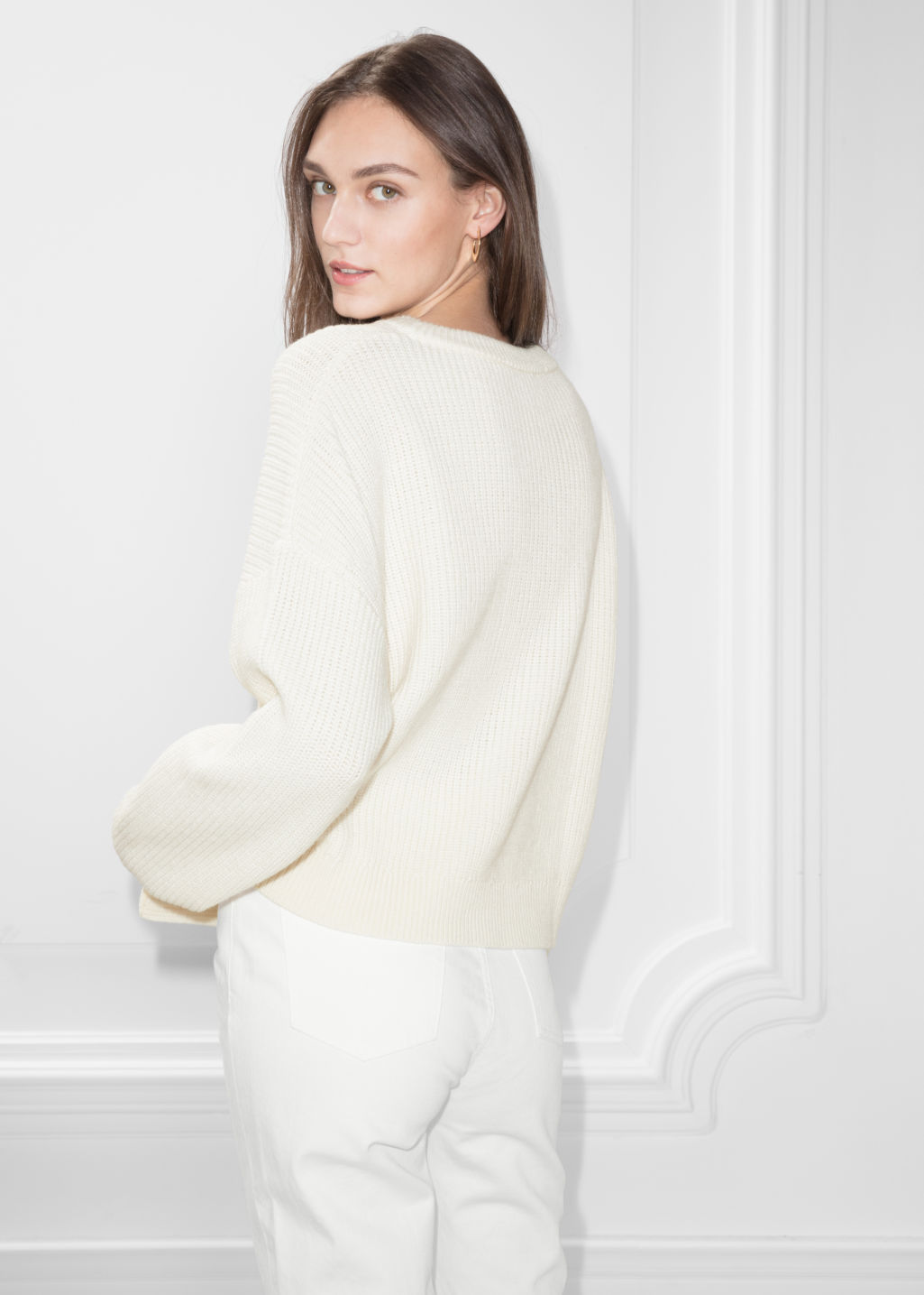 Model back image of Stories braided wool-blend sweater  in white
