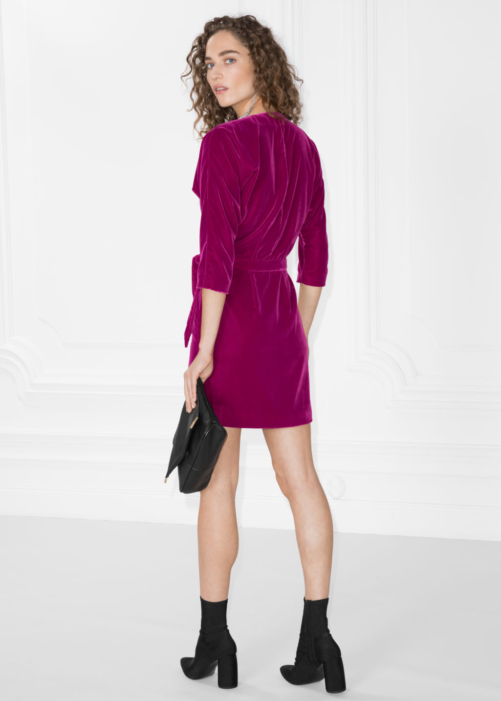 Model back image of Stories graphic devoré wrap dress in pink