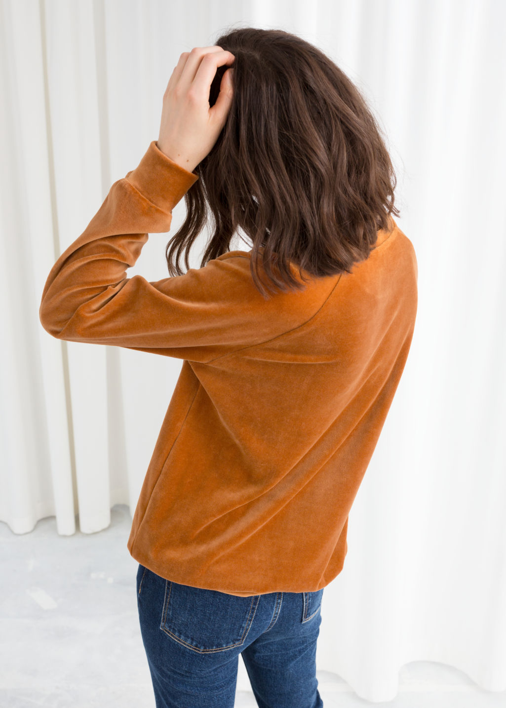 Model back image of Stories velour sweatshirt in yellow