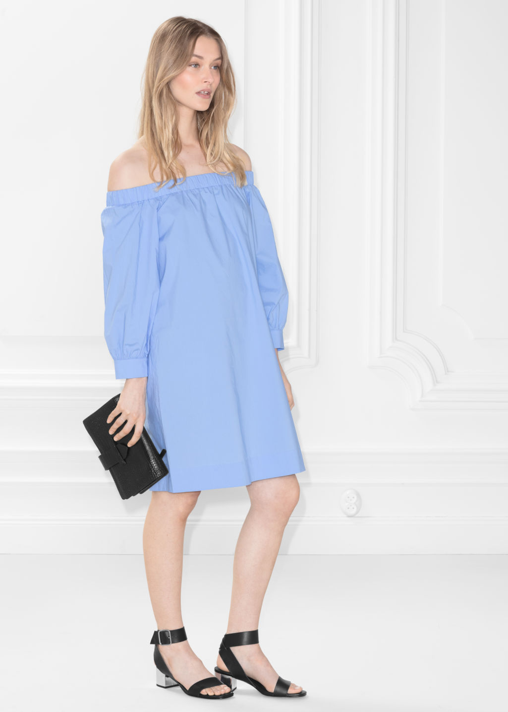 Model front image of Stories off-shoulder dress in blue