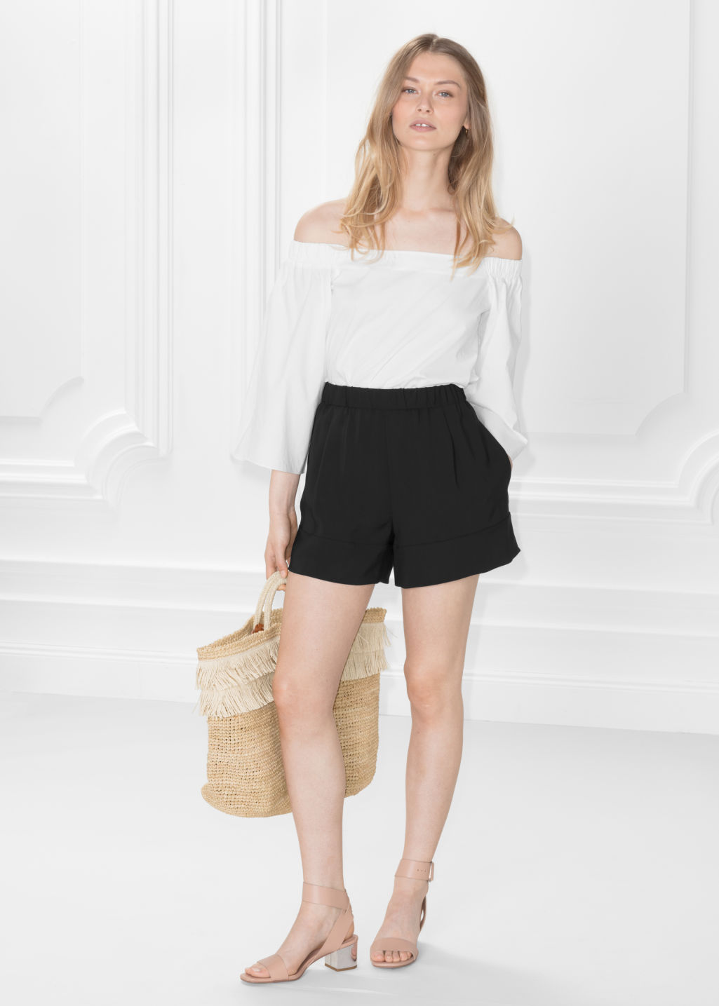 Model front image of Stories twill shorts in black