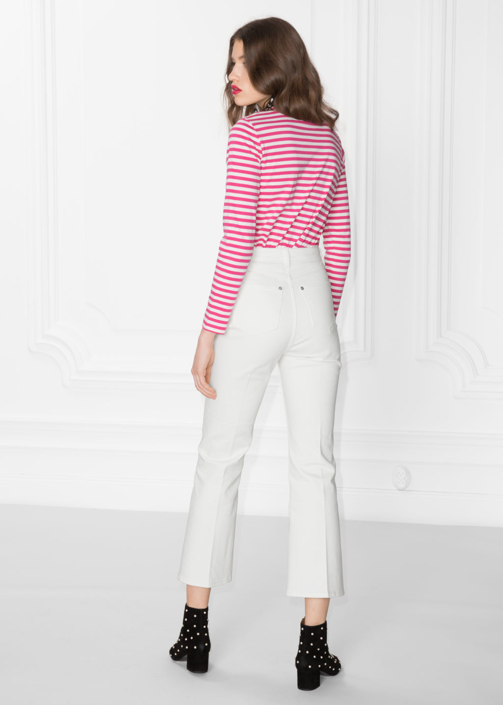Model back image of Stories striped long sleeve tee in pink