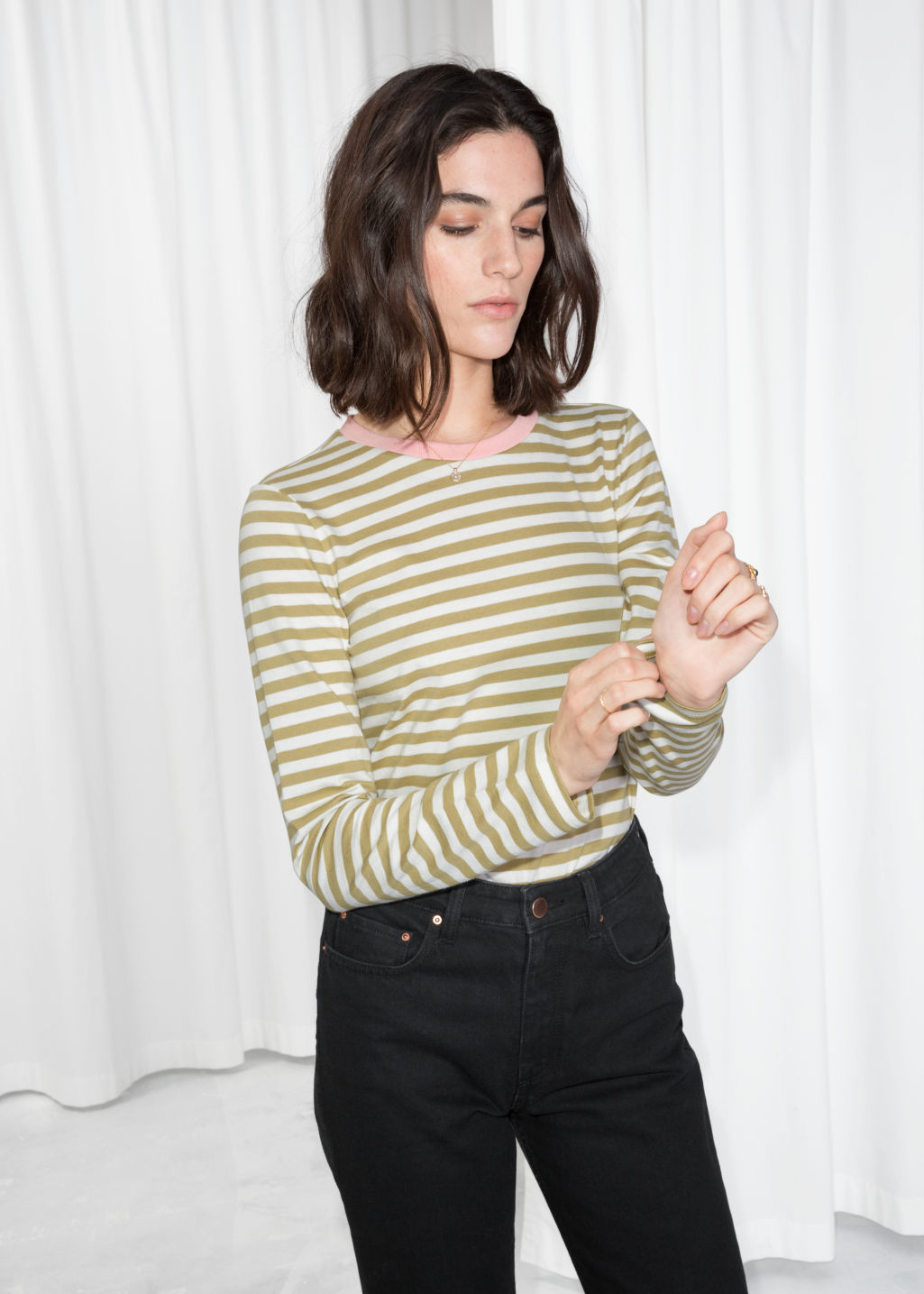 Model front image of Stories striped long sleeve tee in yellow