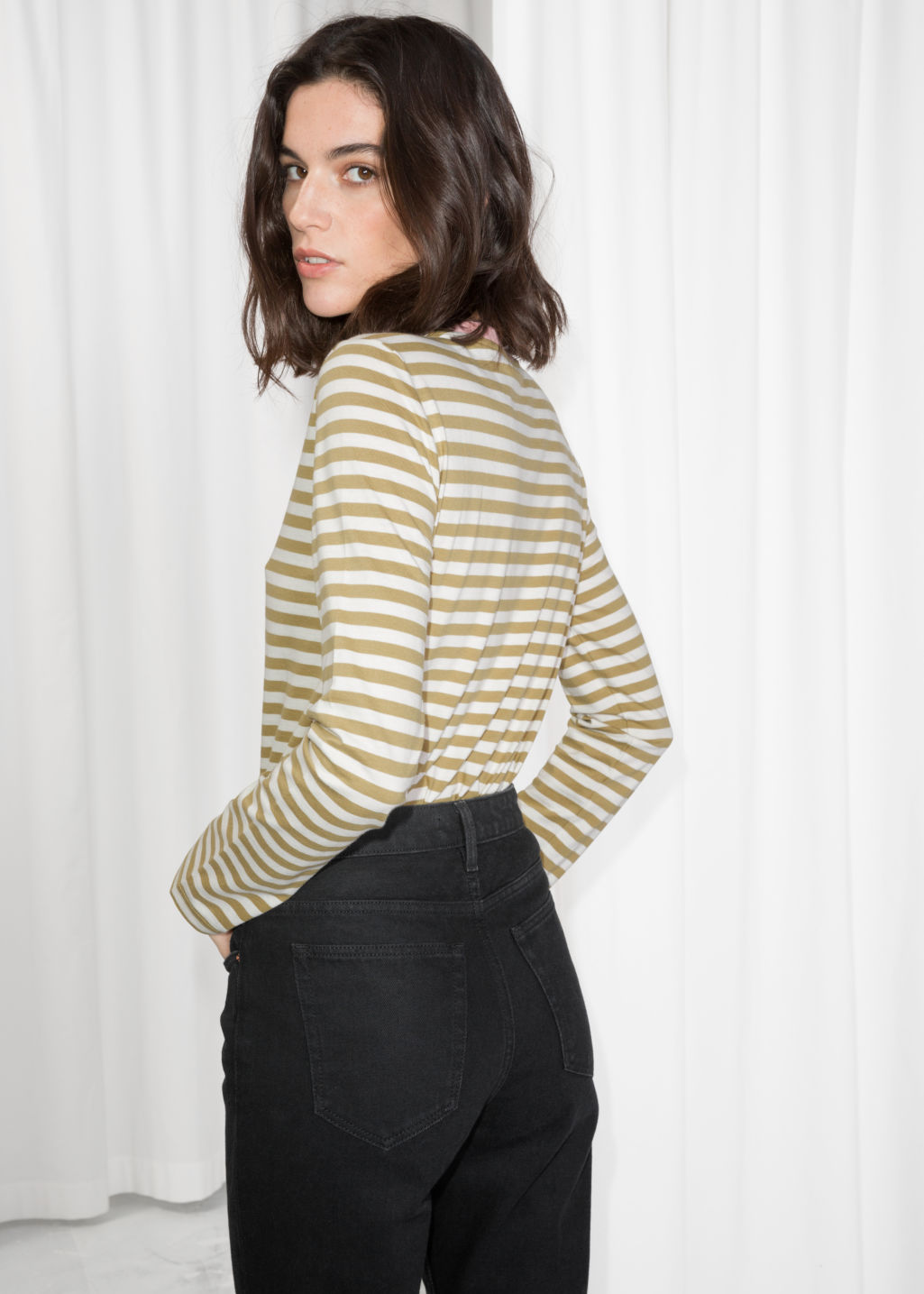 Model back image of Stories striped long sleeve tee in yellow