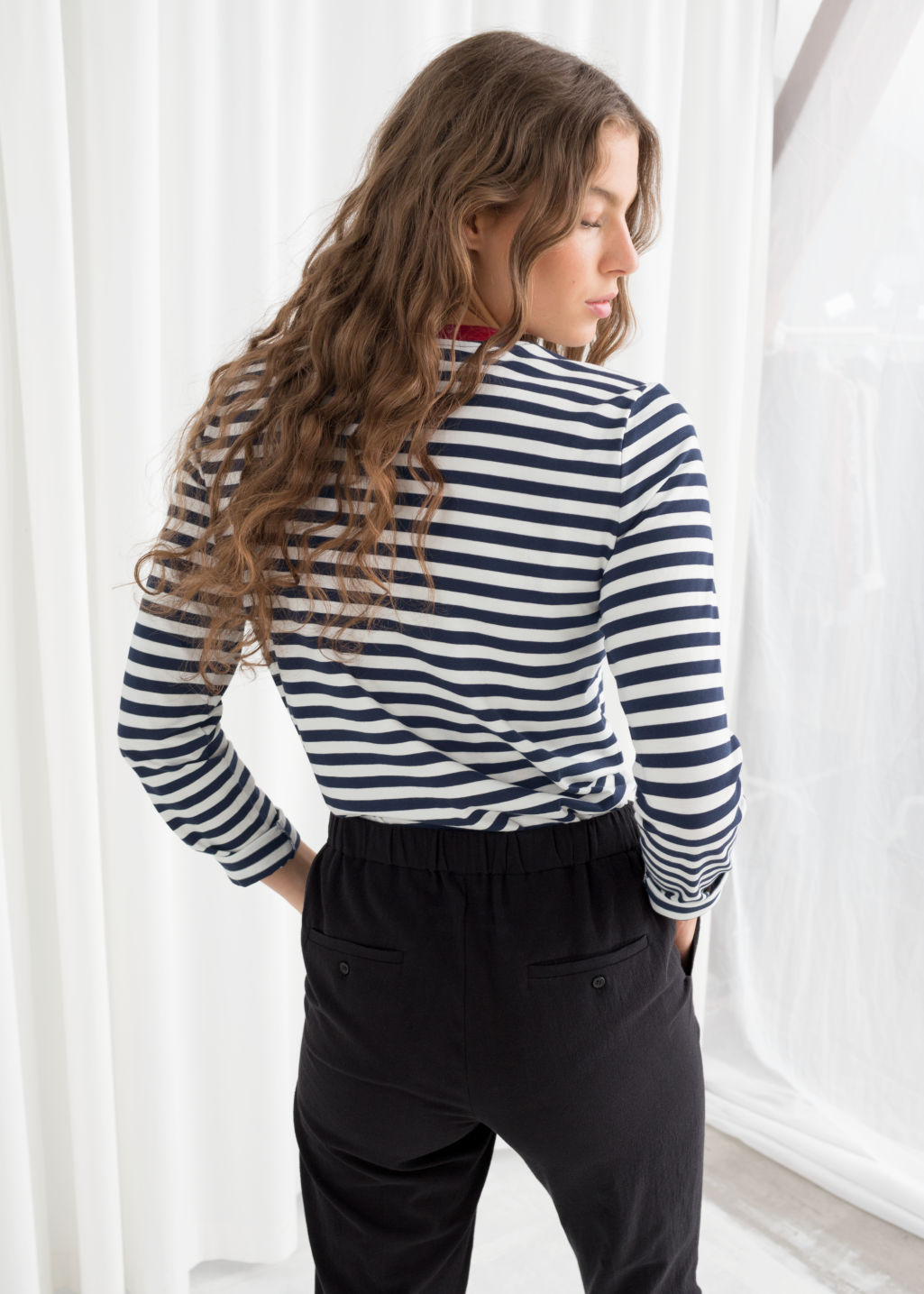 Model back image of Stories striped long sleeve tee in blue