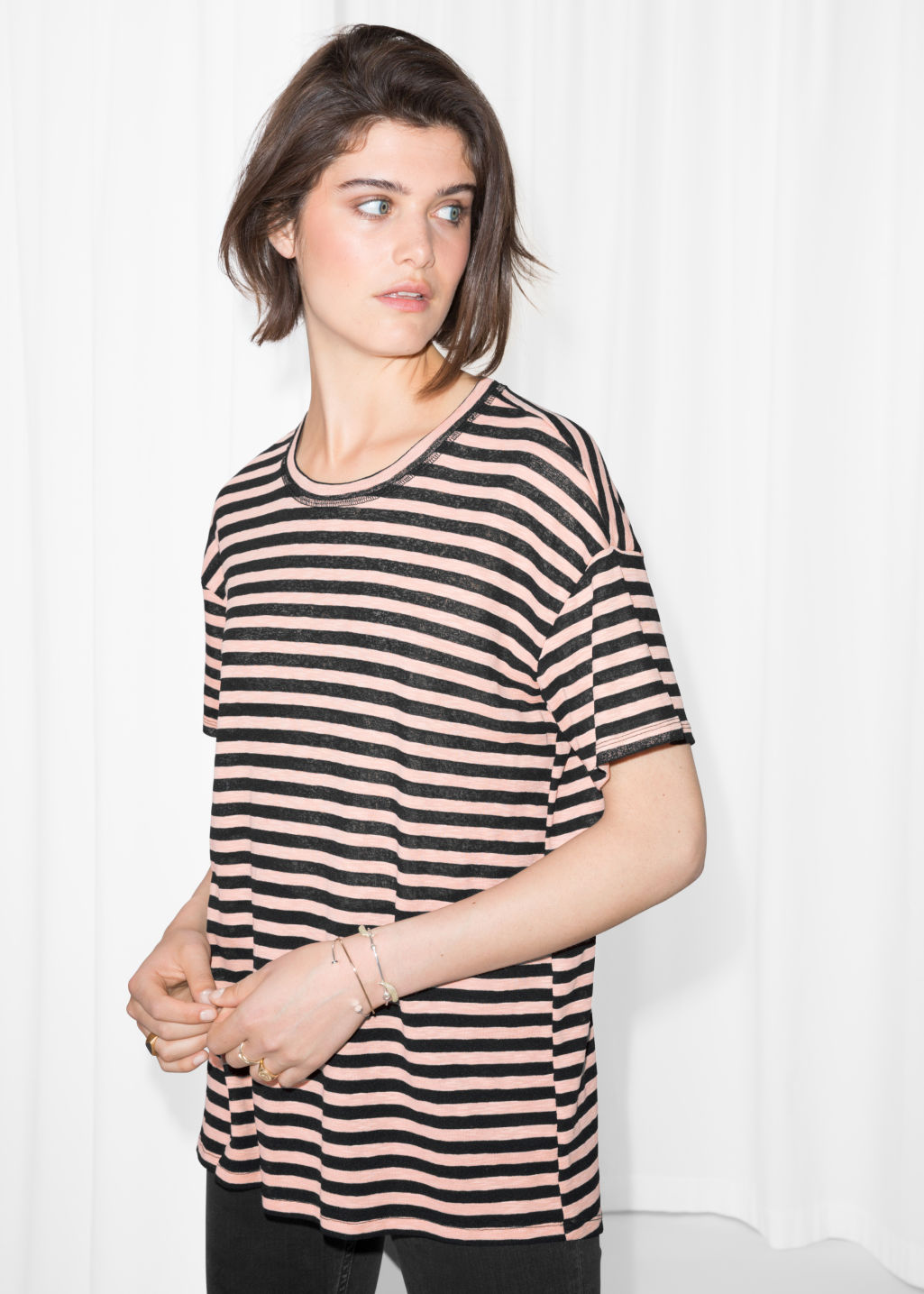 Model front image of Stories striped shirt in orange