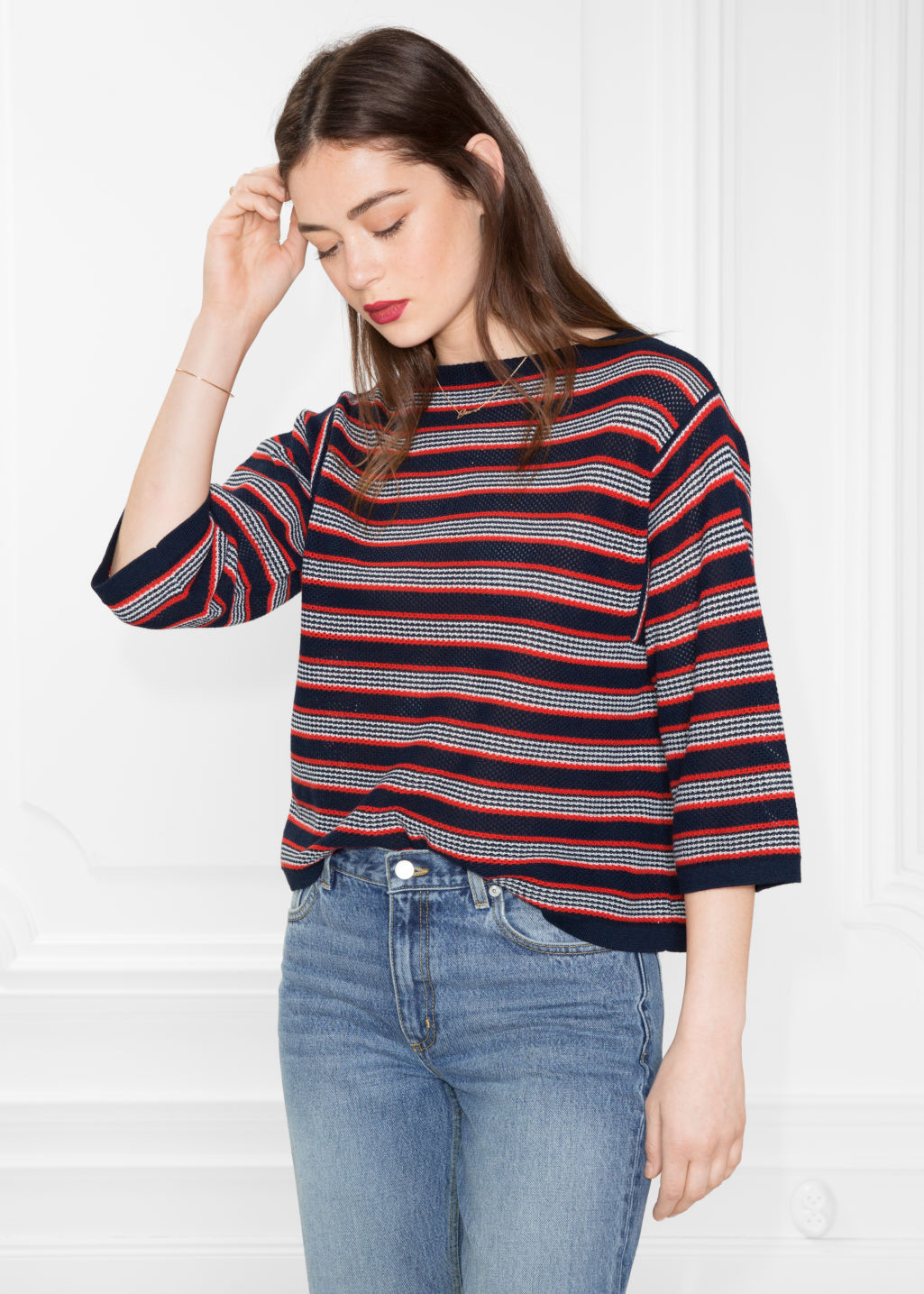 Model front image of Stories striped oversized top  in blue