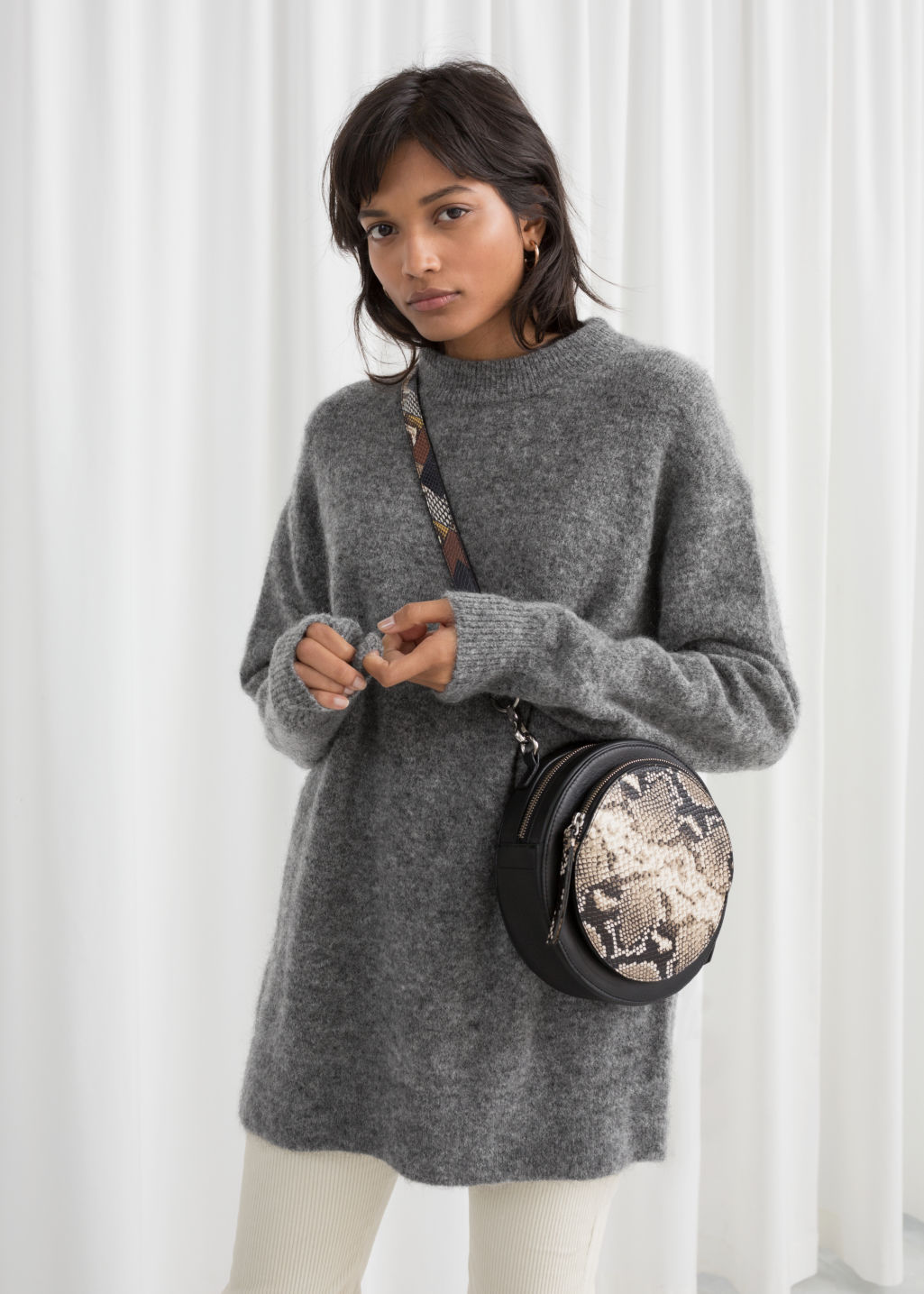 Model front image of Stories oversized wool blend sweater in grey