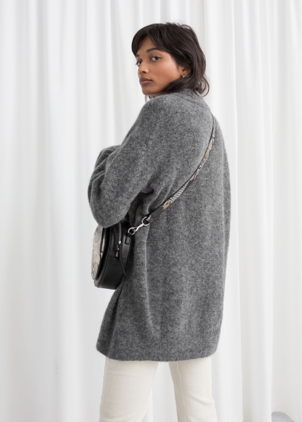 Model back image of Stories oversized wool blend sweater in grey