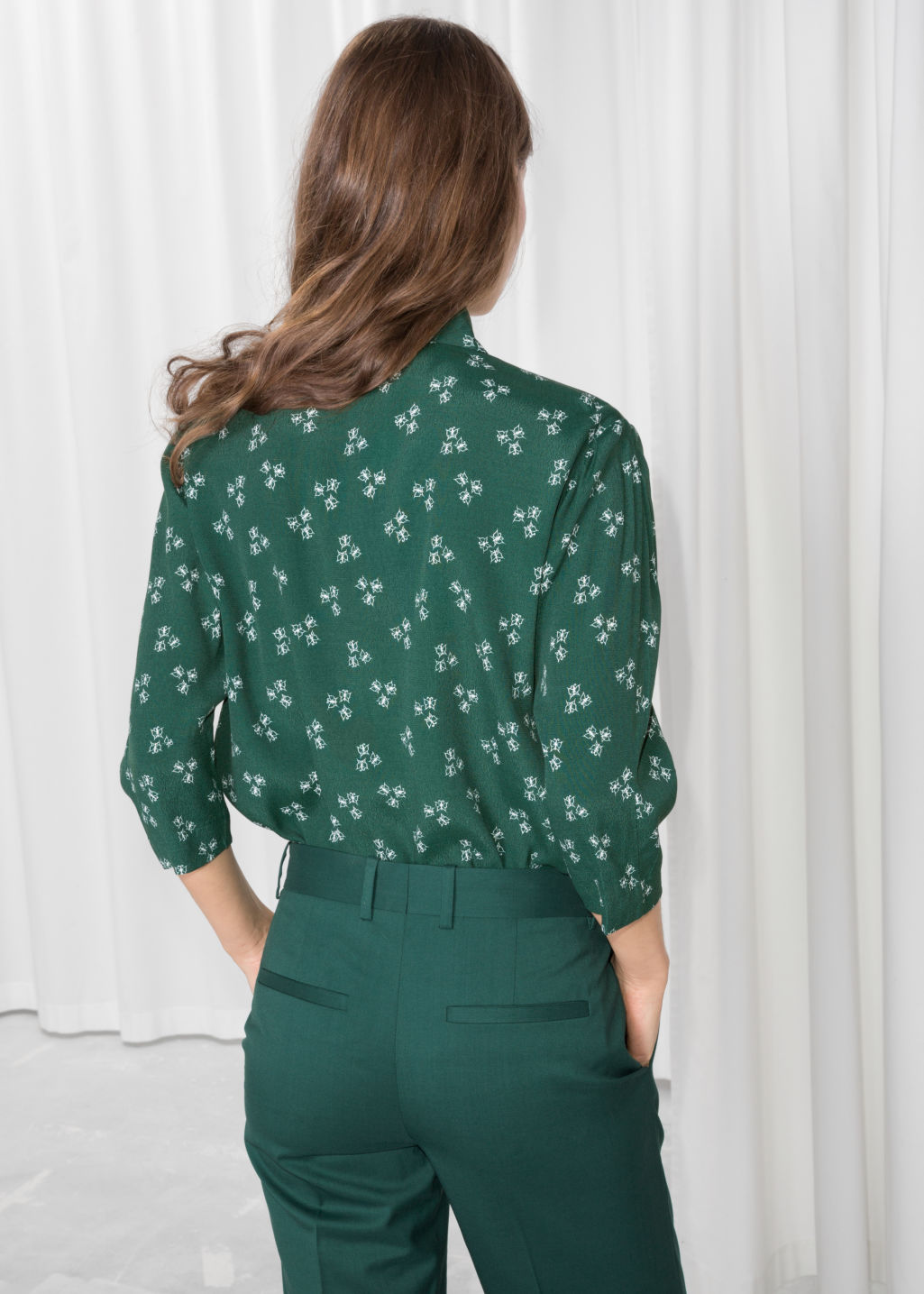 Model back image of Stories spackle print shirt  in green