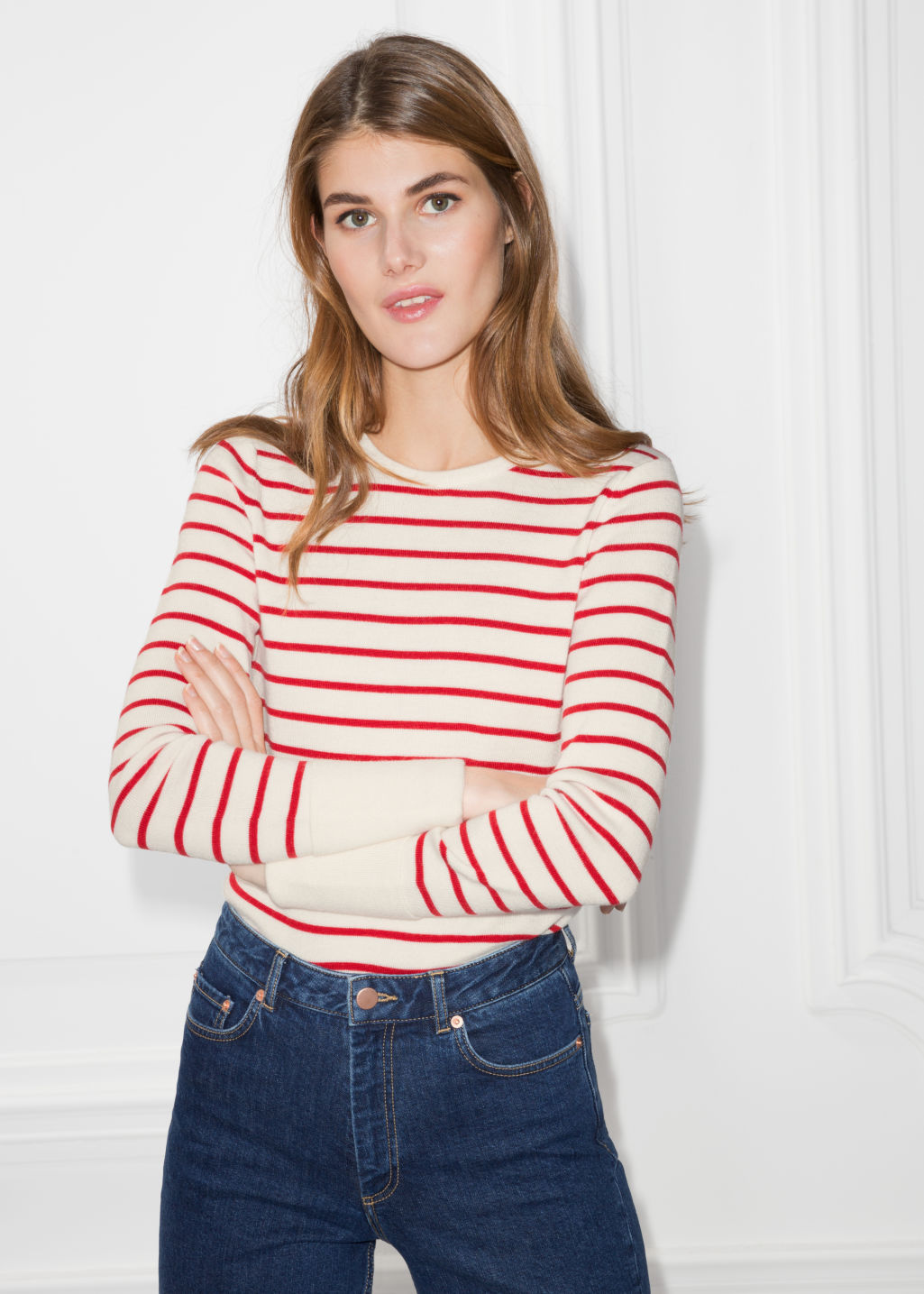 Model front image of Stories nautical sweater in white