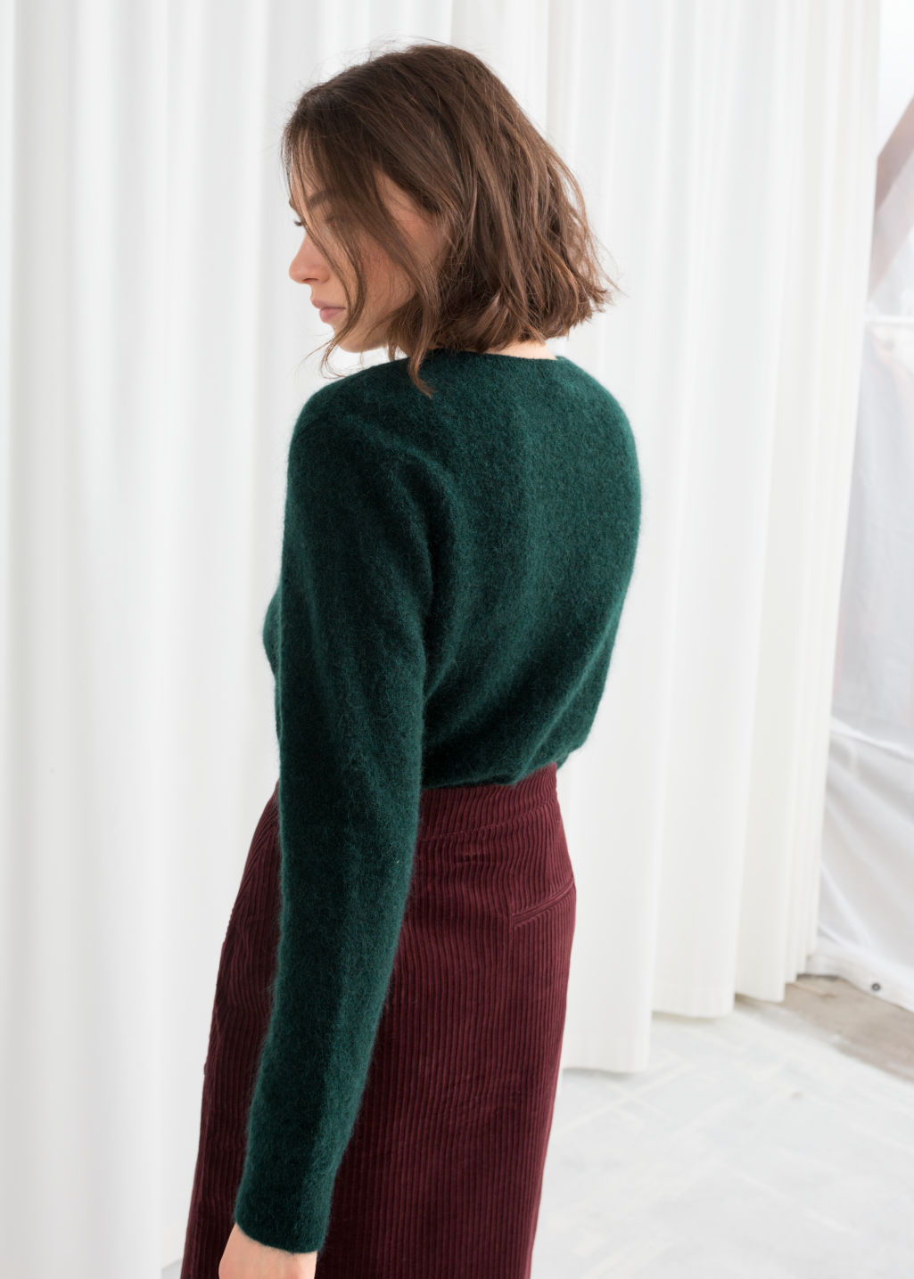 Model back image of Stories wool blend knit sweater in green