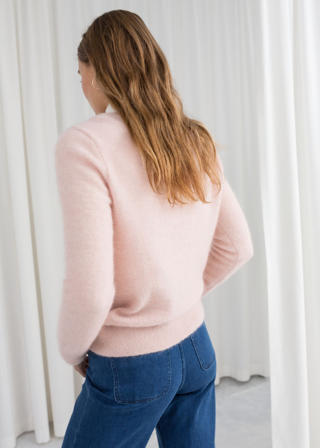 Model back image of Stories wool blend knit sweater in pink
