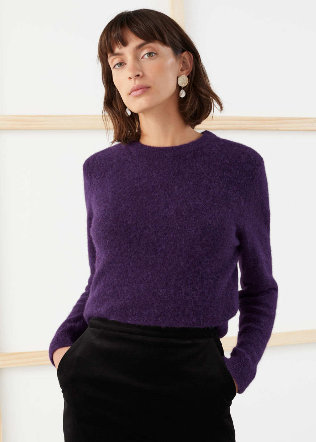 Model front image of Stories wool blend knit sweater in purple