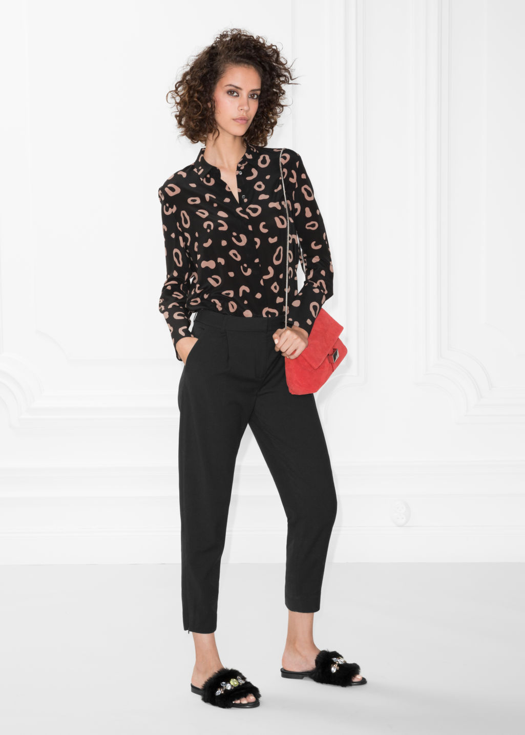 Model front image of Stories tailored trousers in black