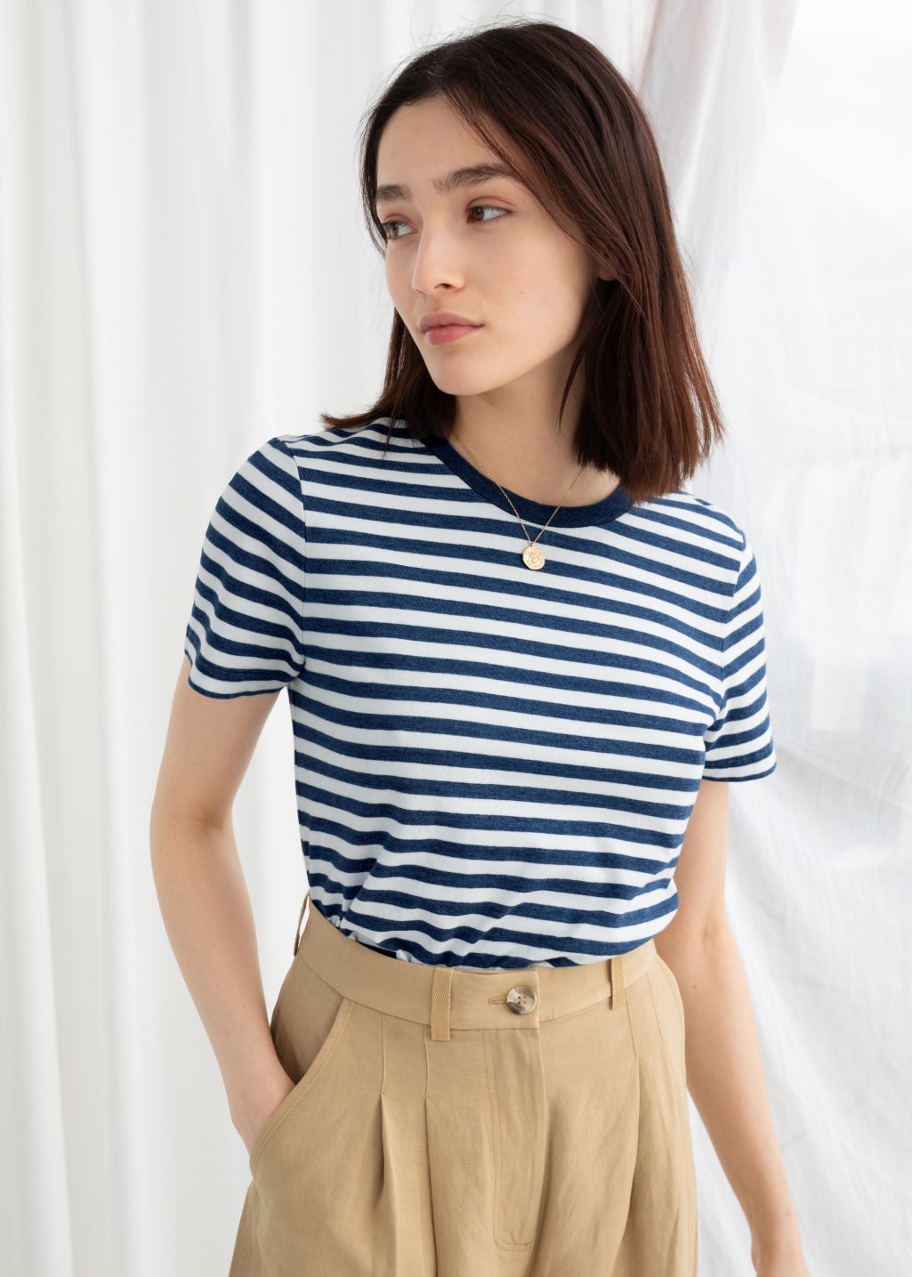 Model front image of Stories striped tee in blue