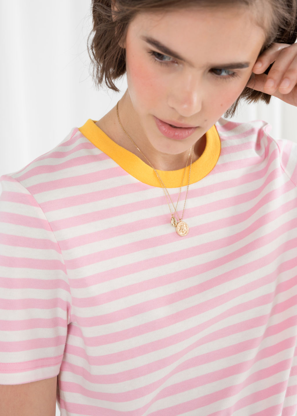 Model back image of Stories striped tee in pink