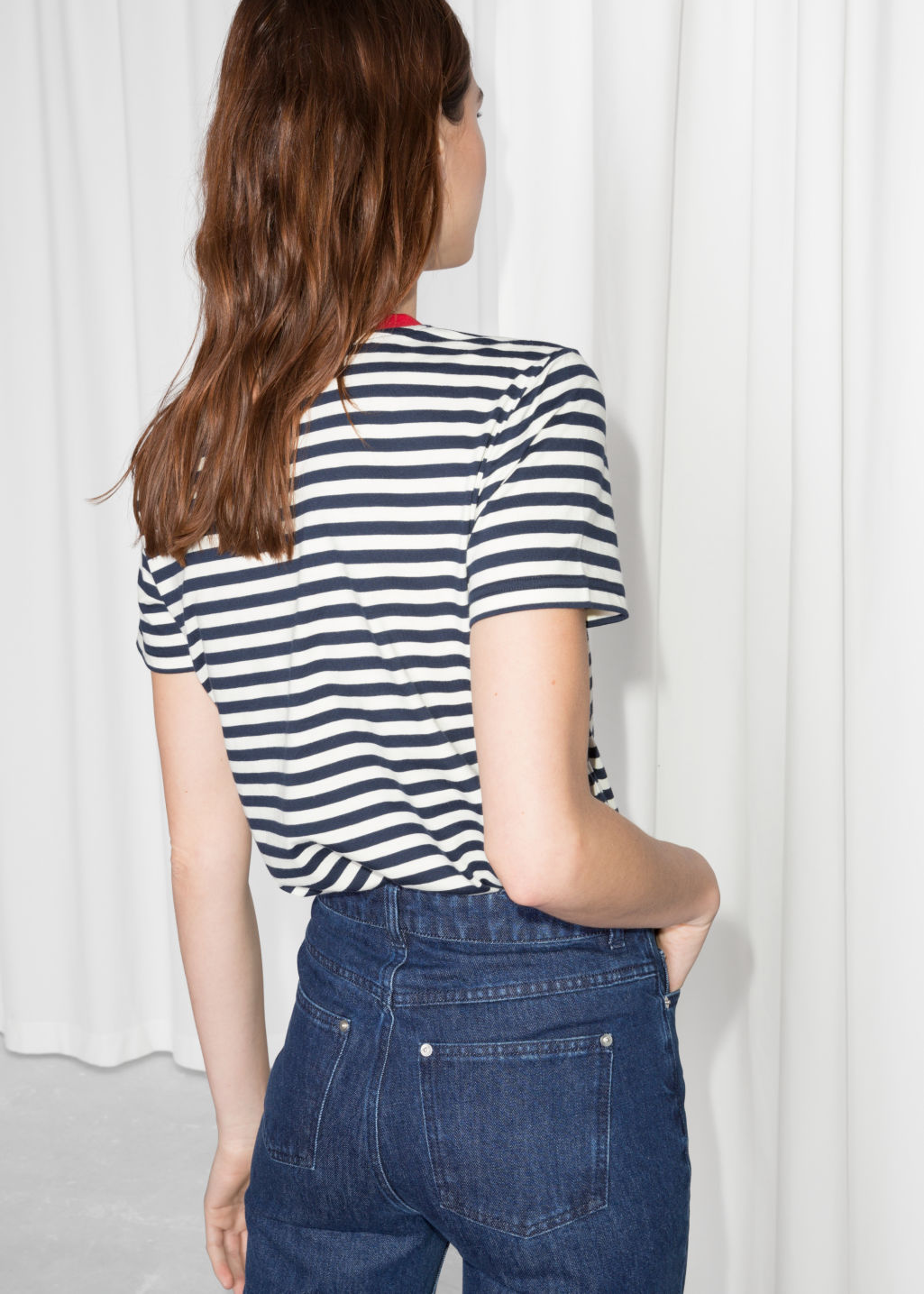 Model back image of Stories striped tee in blue