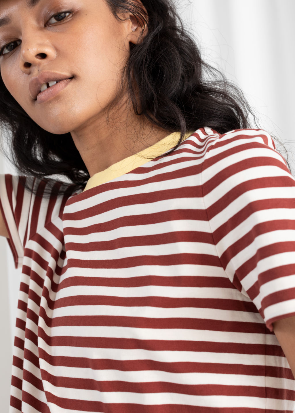 Model back image of Stories striped tee in red