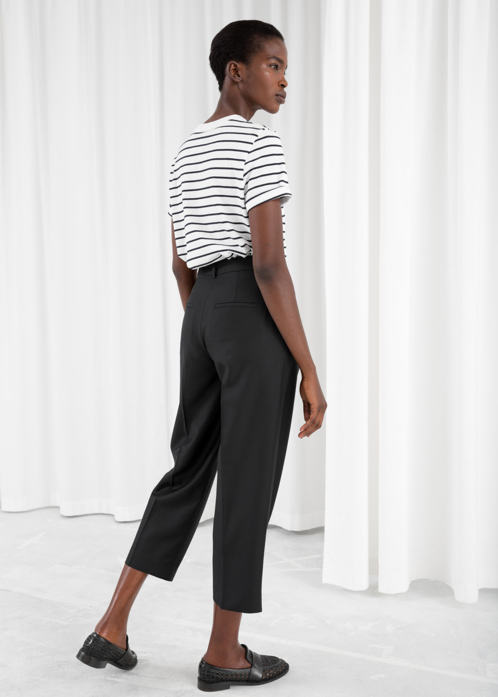 Model back image of Stories pinstripe trousers in black