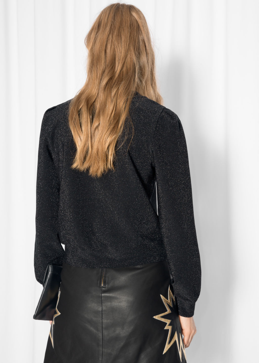 Model back image of Stories sparkly sweater in black