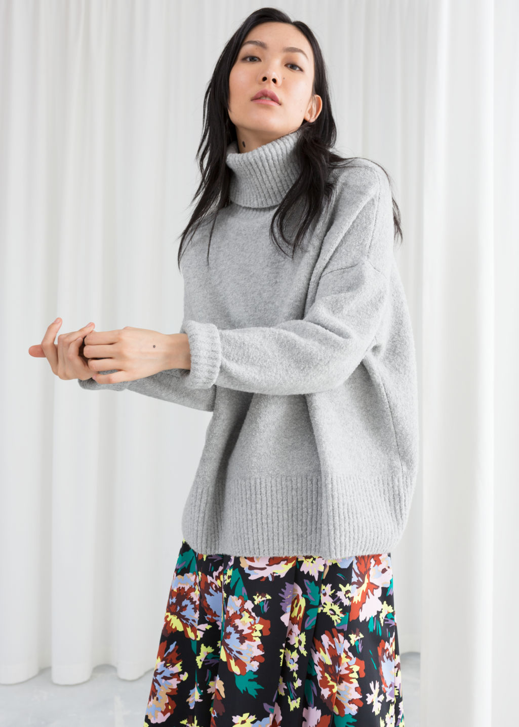 Model front image of Stories high neck sweater in grey