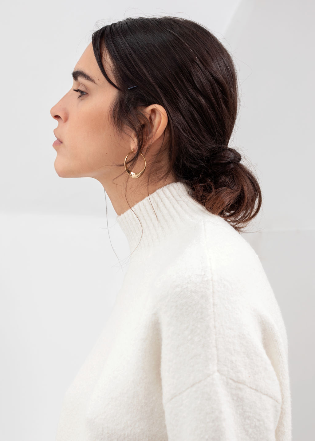 Model back image of Stories cropped mock neck sweater in white
