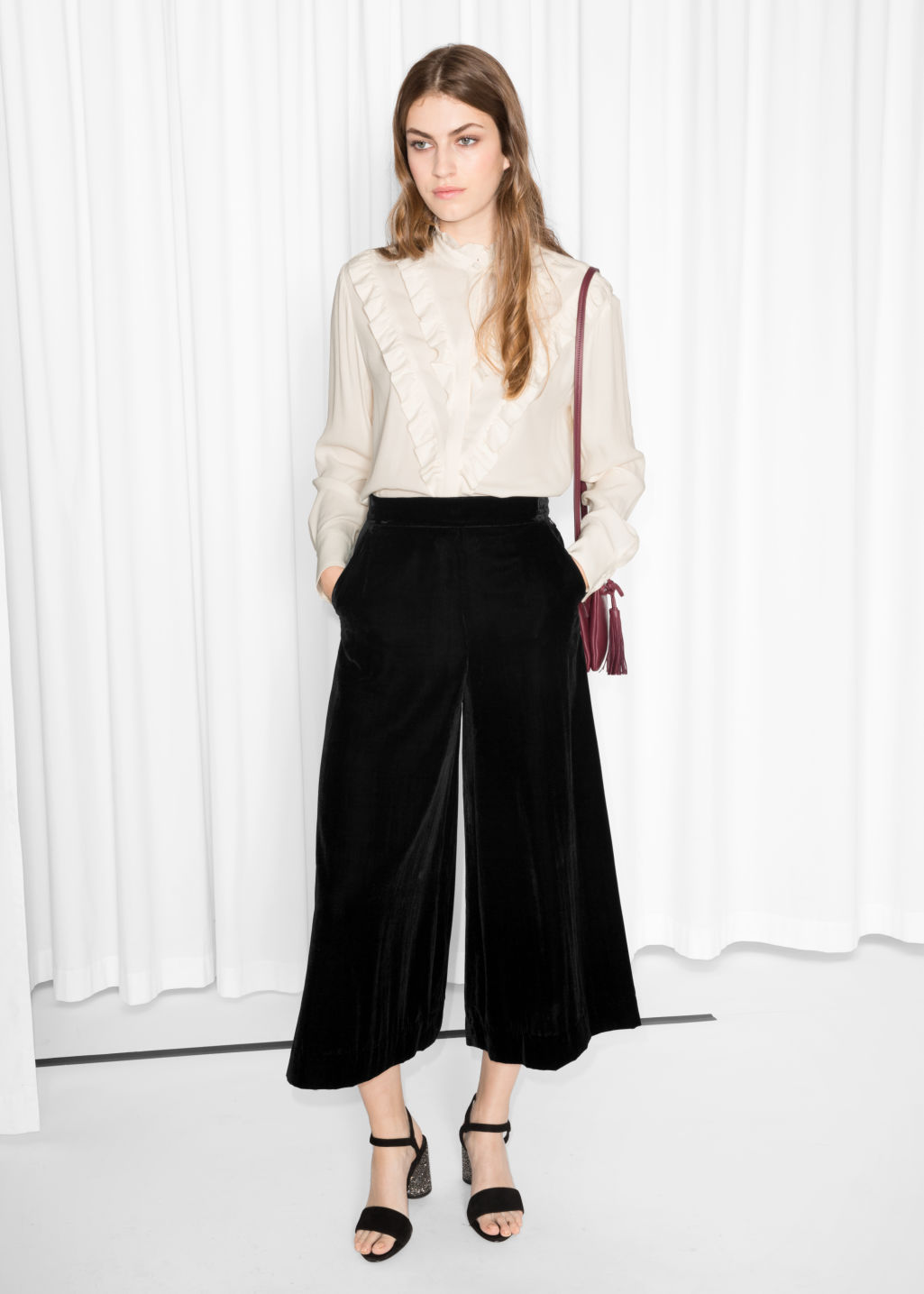 Model front image of Stories velvet culottes in black