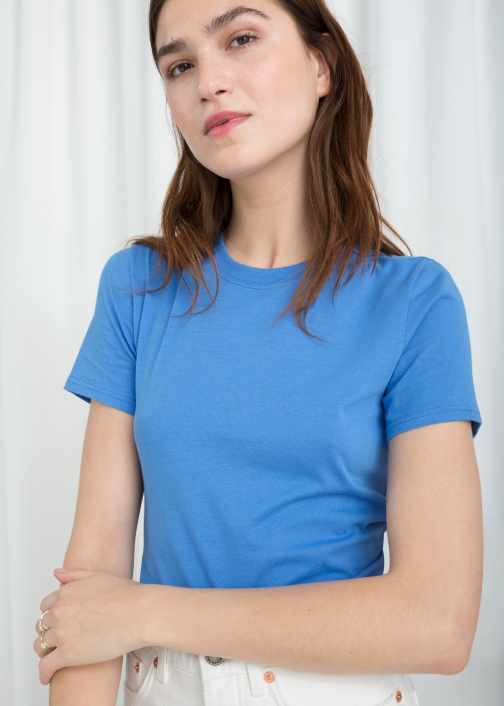 Model back image of Stories cotton jersey t-shirt in blue
