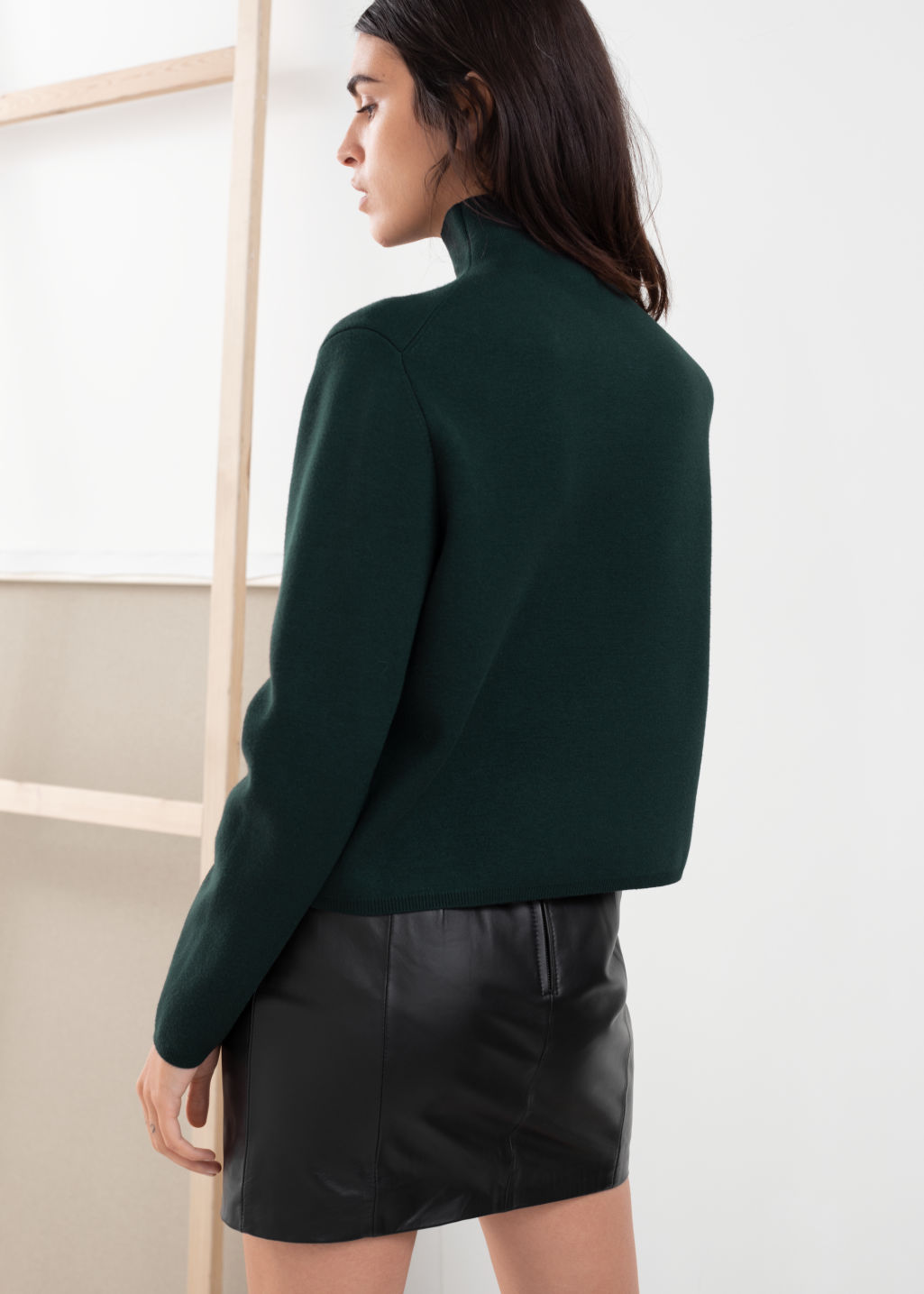 Model back image of Stories cropped relaxed fit turtleneck  in green