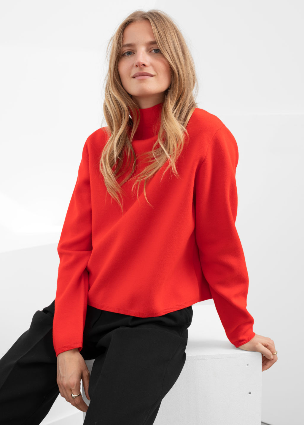 Model front image of Stories cropped relaxed fit turtleneck  in red