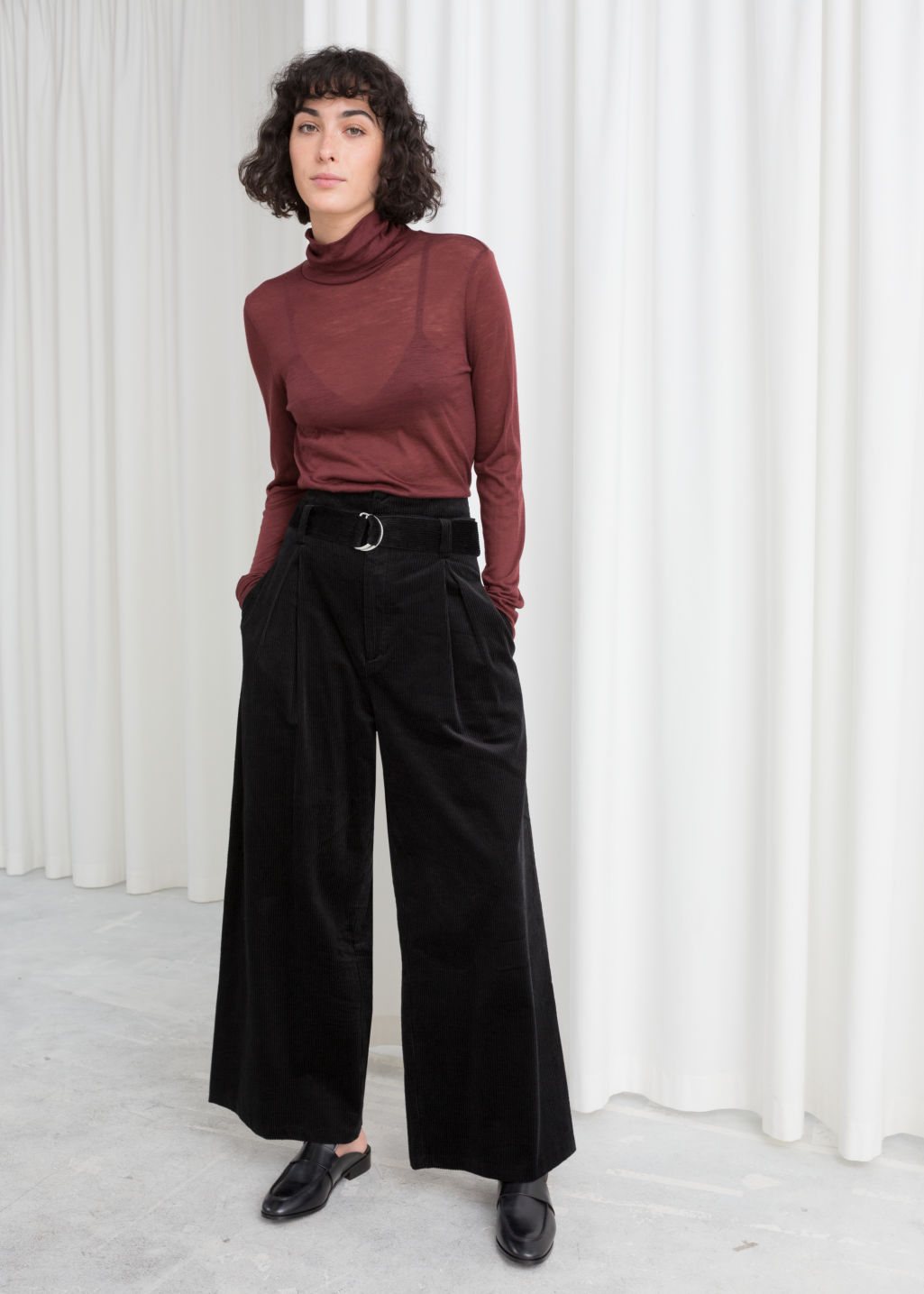 Model front image of Stories wide corduroy trousers in black