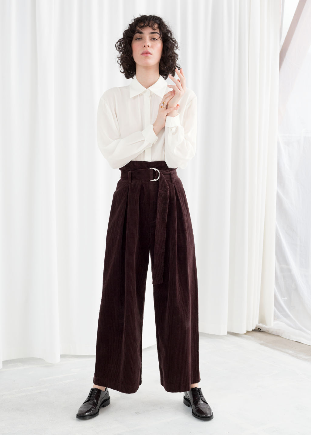 Model front image of Stories wide corduroy trousers in brown