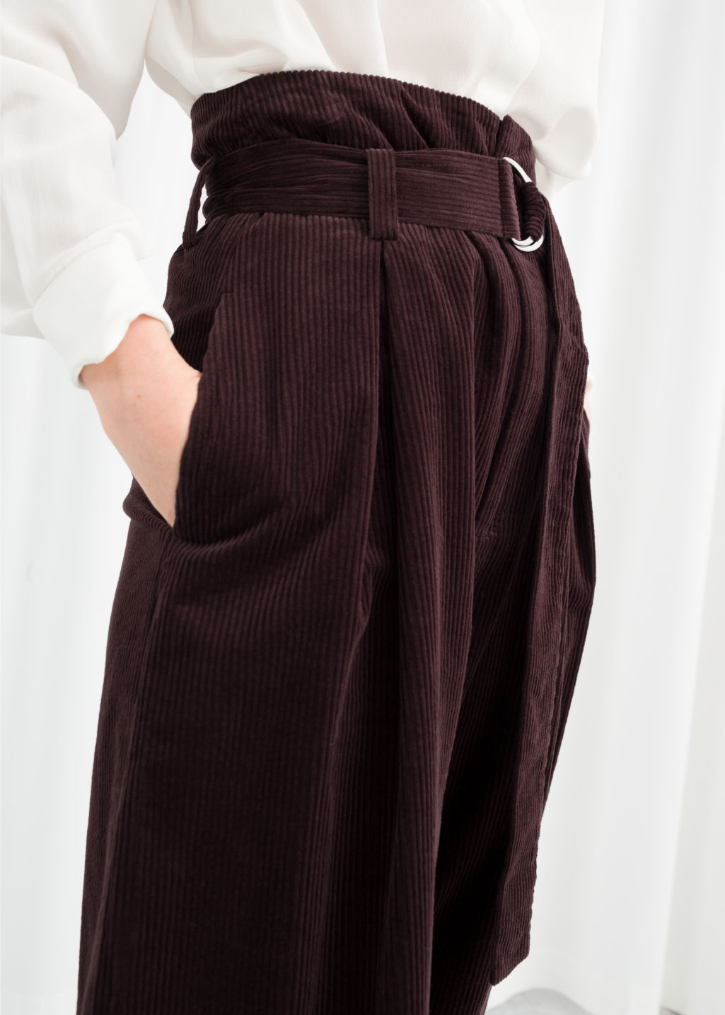 Model back image of Stories wide corduroy trousers in brown