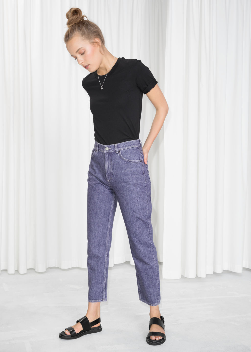 Model front image of Stories mom denim  in purple