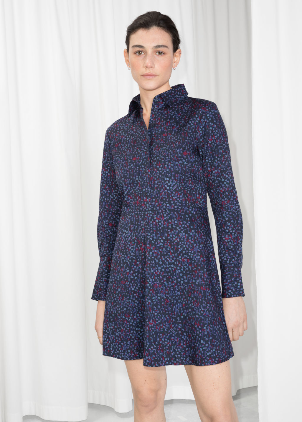 Model front image of Stories fit & flare shirt dress  in blue