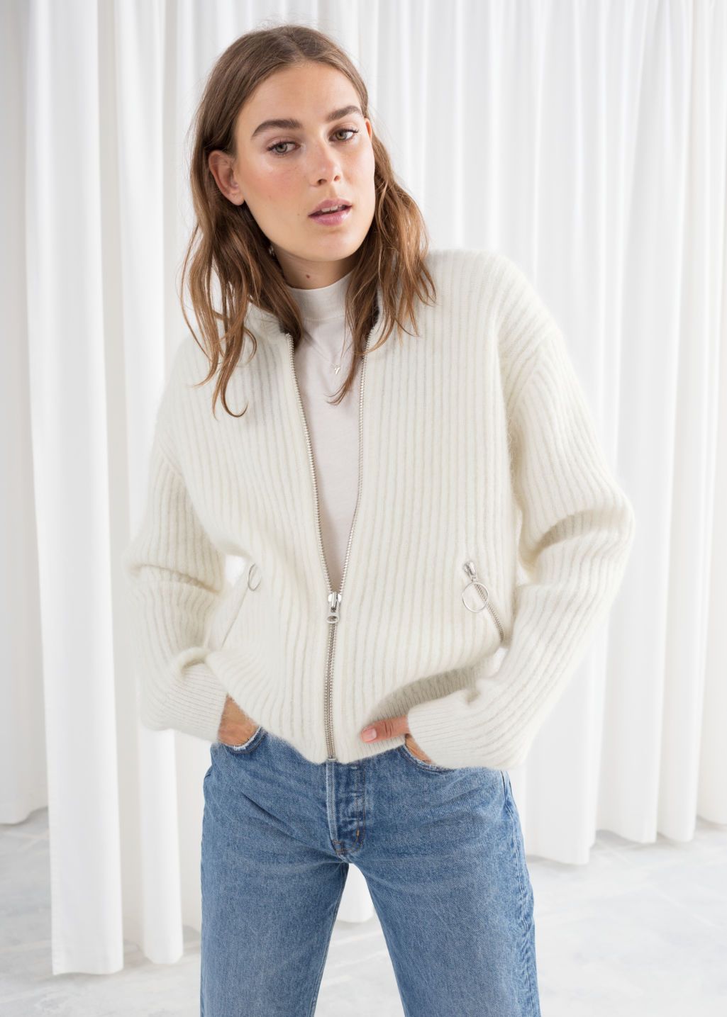 Model front image of Stories wool & mohair bomber knit in beige