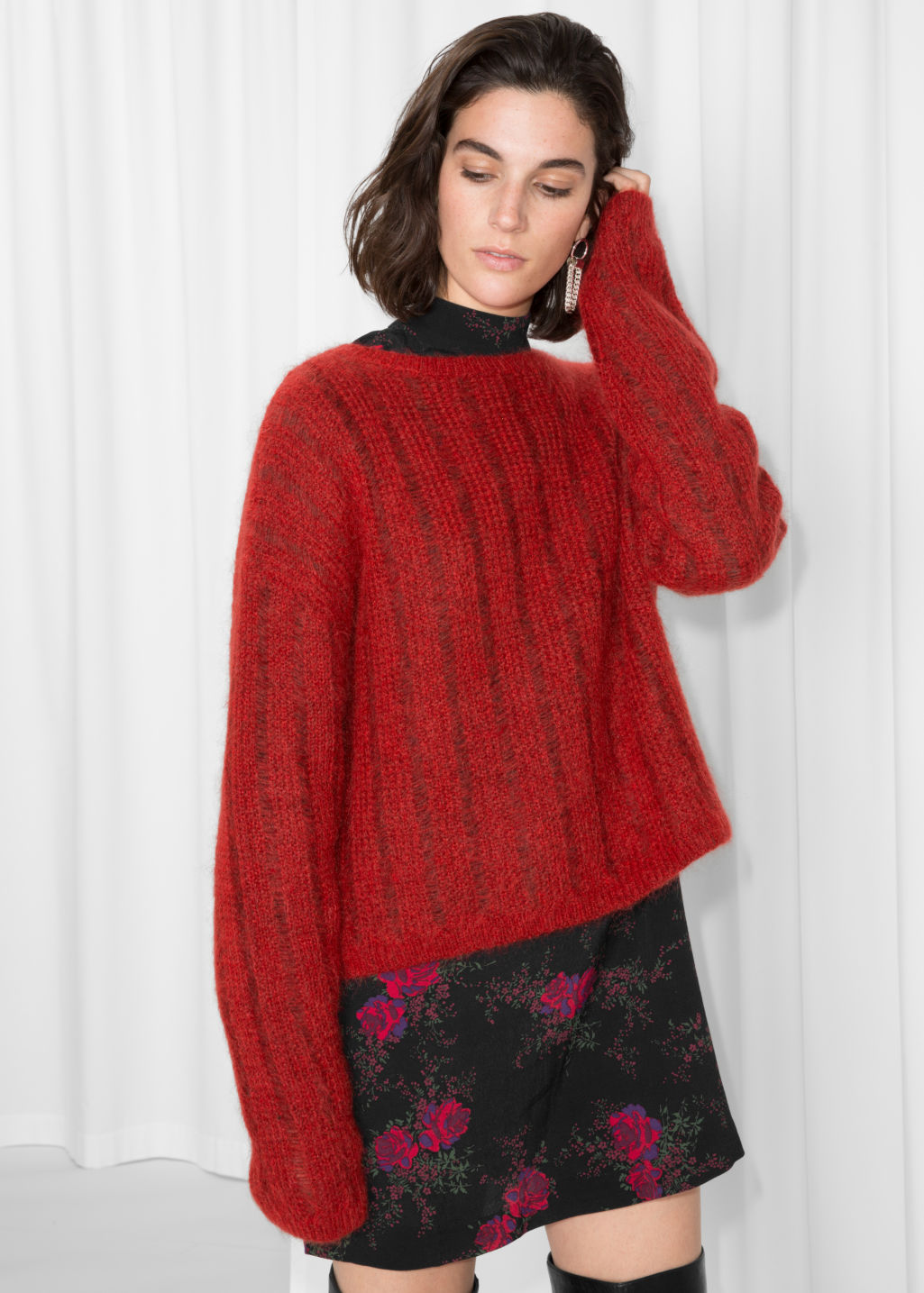 Model front image of Stories fuzzy mohair & wool knit in red