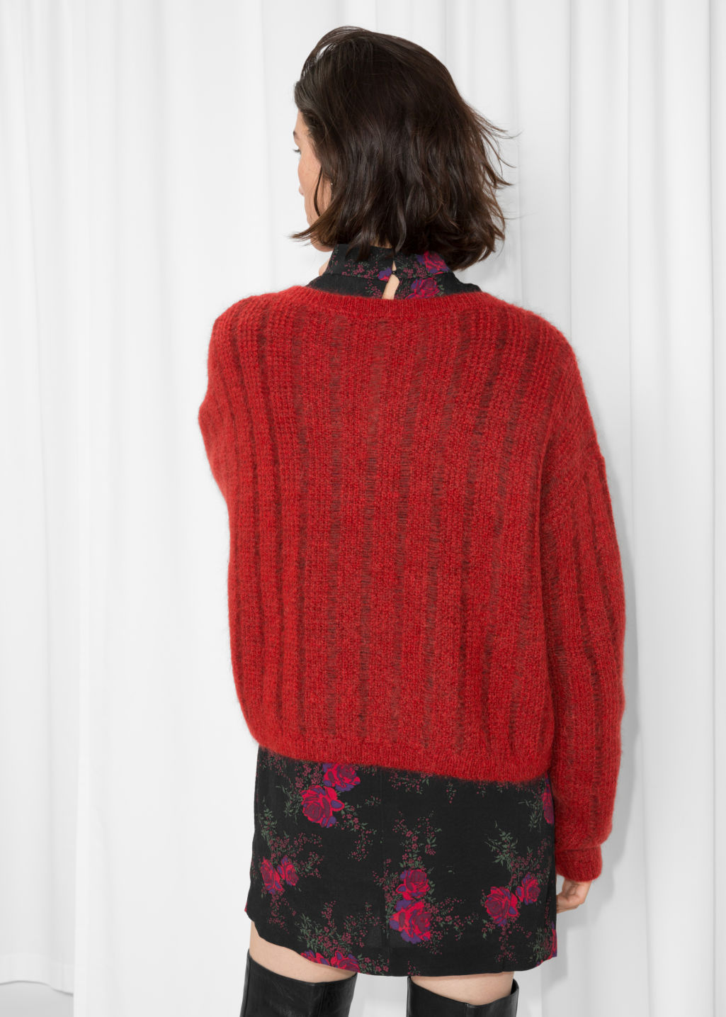 Model back image of Stories fuzzy mohair & wool knit in red