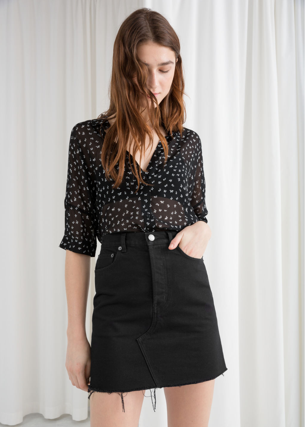 Model front image of Stories oversized blouse  in black