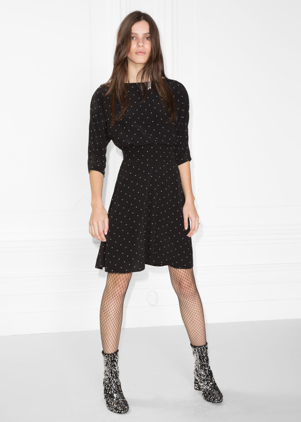 Model front image of Stories 3/4 sleeve dress in black