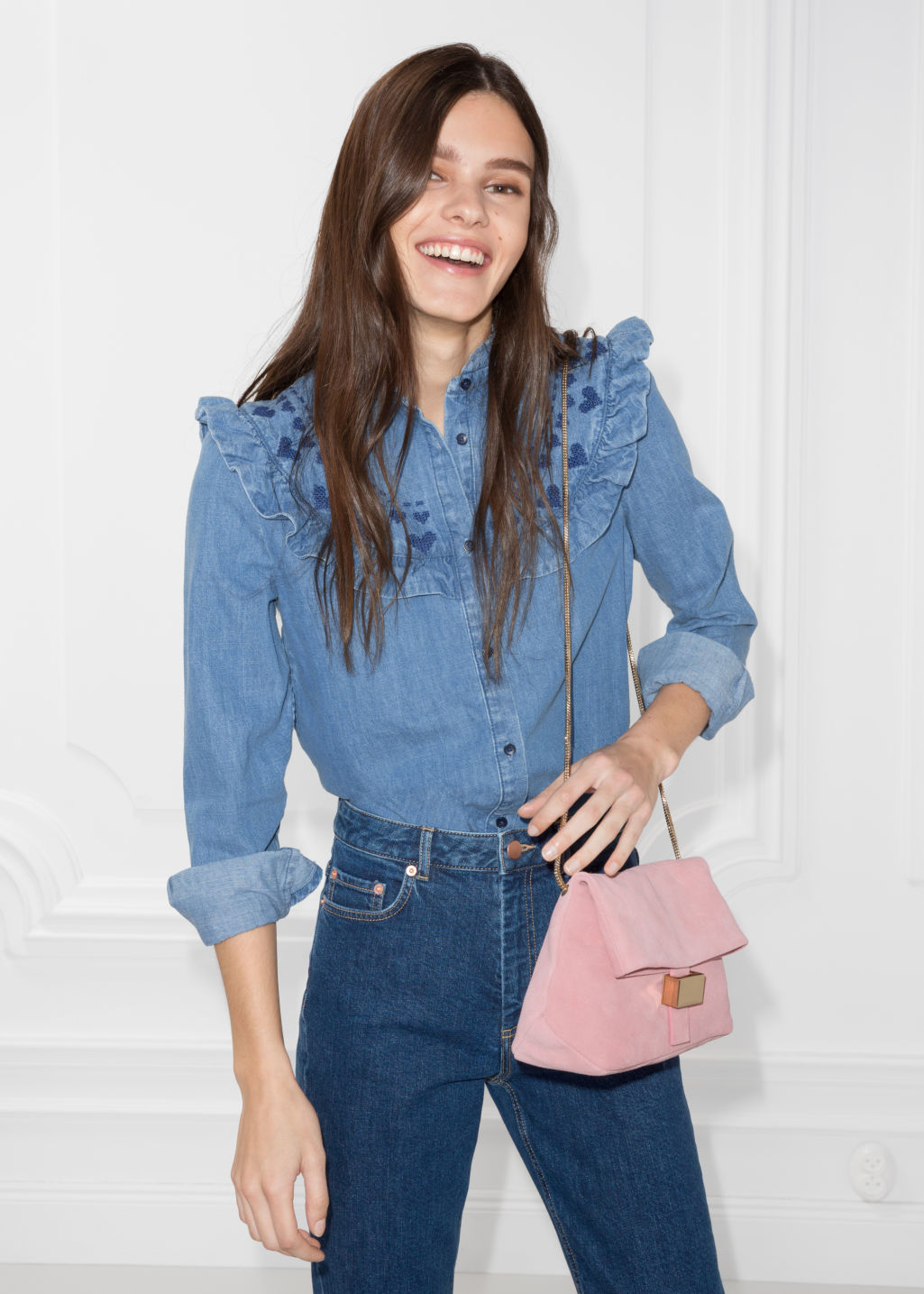 Model front image of Stories frilled denim blouse  in blue
