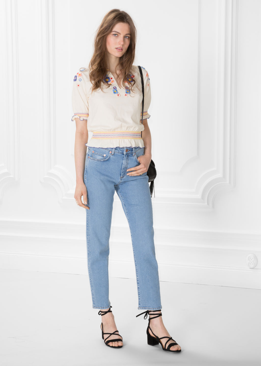 Model front image of Stories straight denim jeans in blue