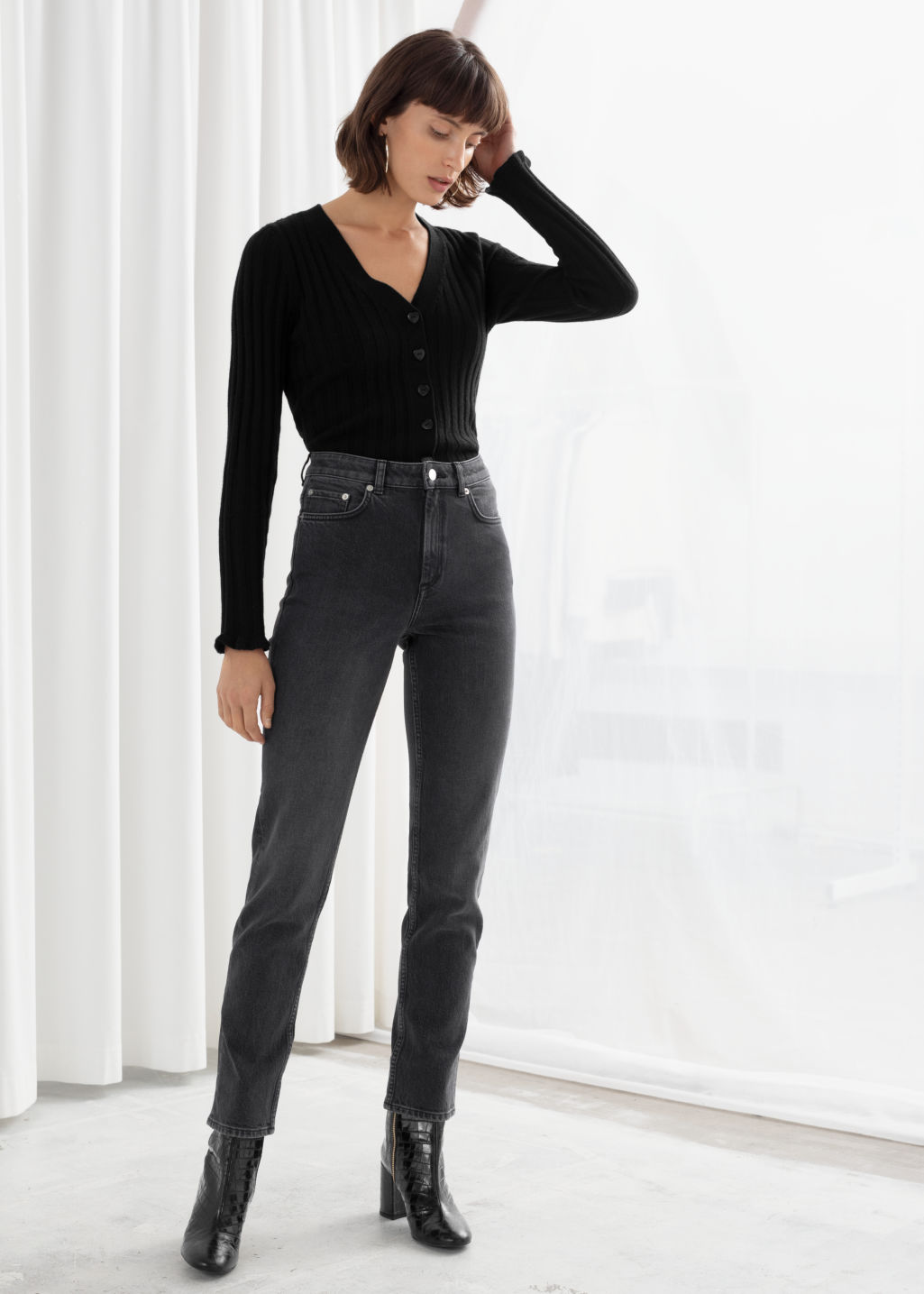 Model front image of Stories straight stretch jeans in grey