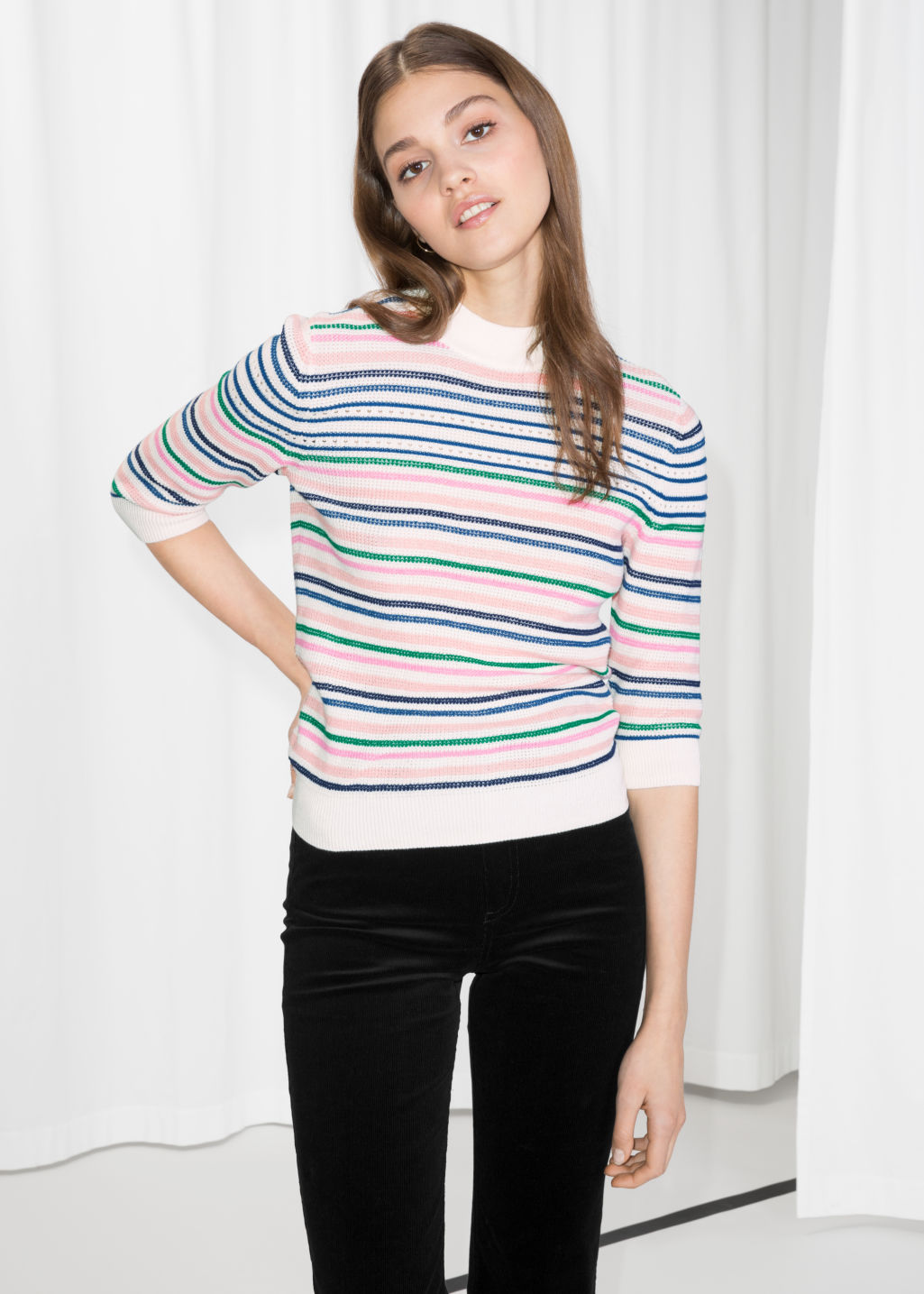 Model front image of Stories cotton multi-stripe sweater in white