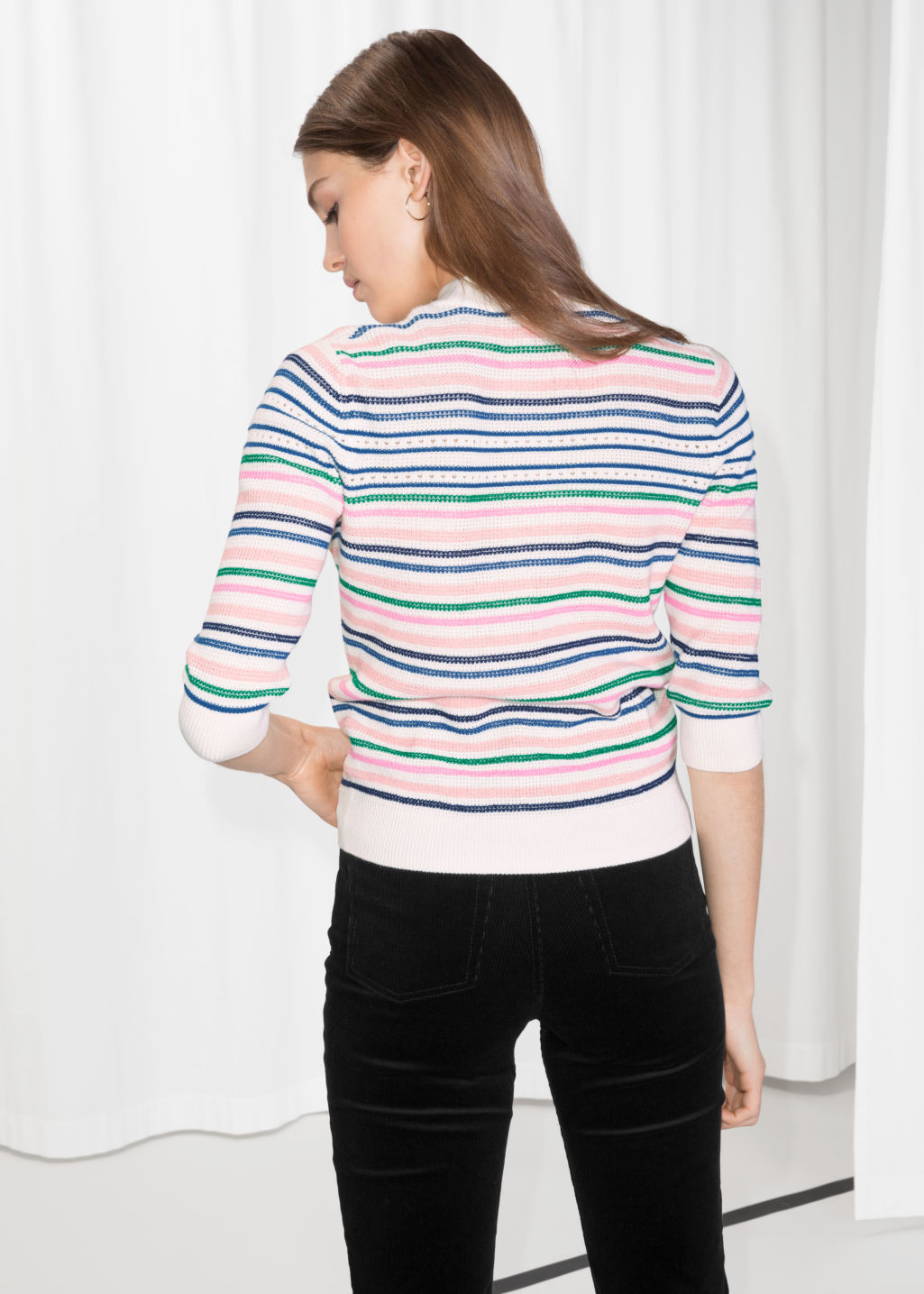 Model back image of Stories cotton multi-stripe sweater in white