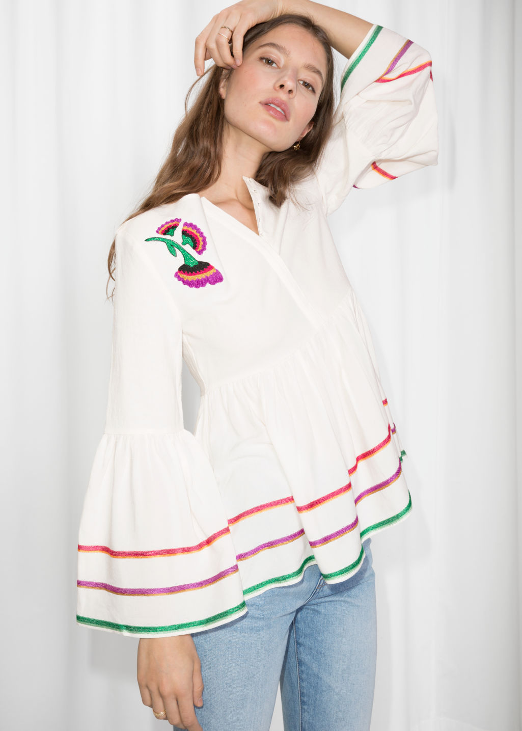 Model front image of Stories linen-blend rik rak & embroidered blouse in white