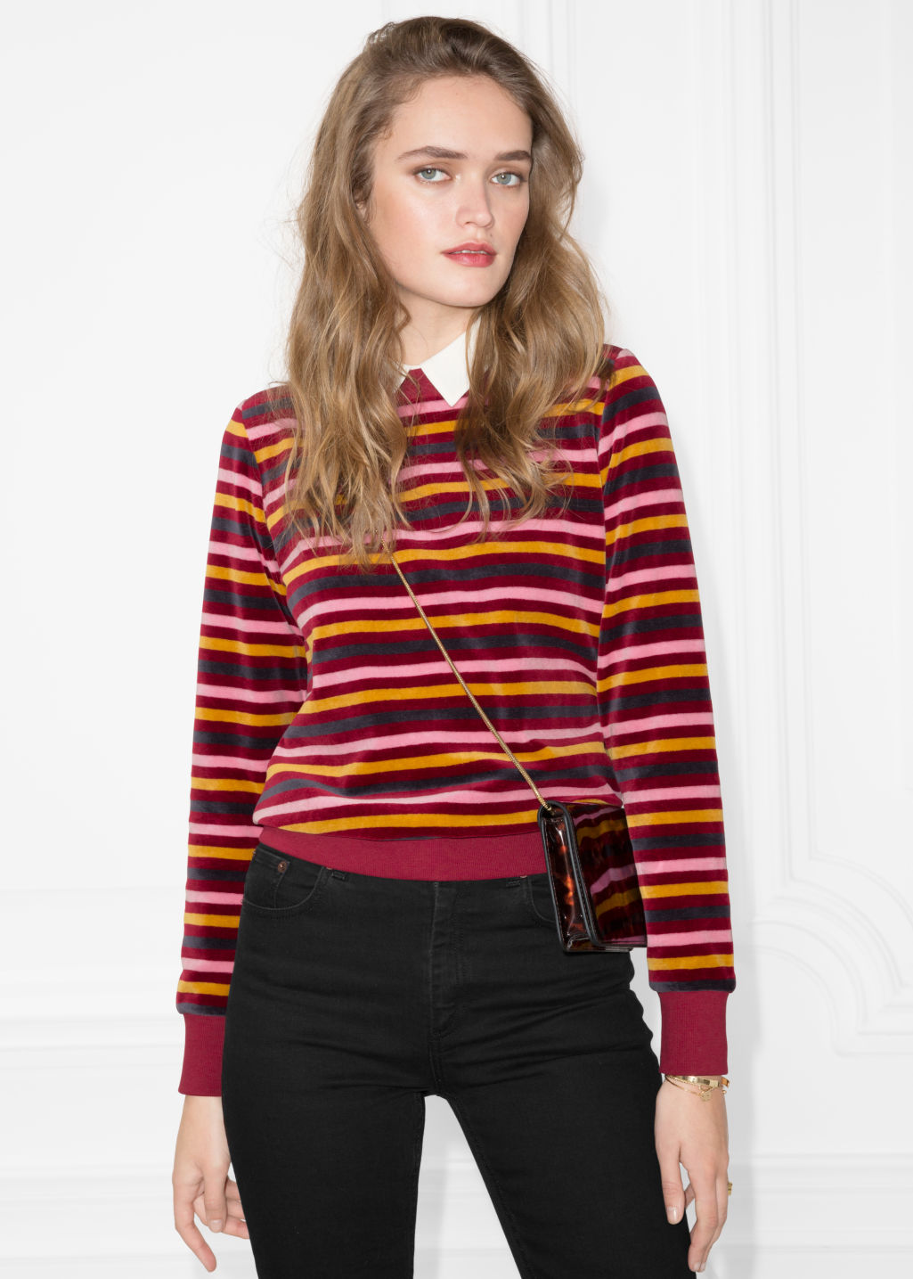 Model front image of Stories bateau neck top in red