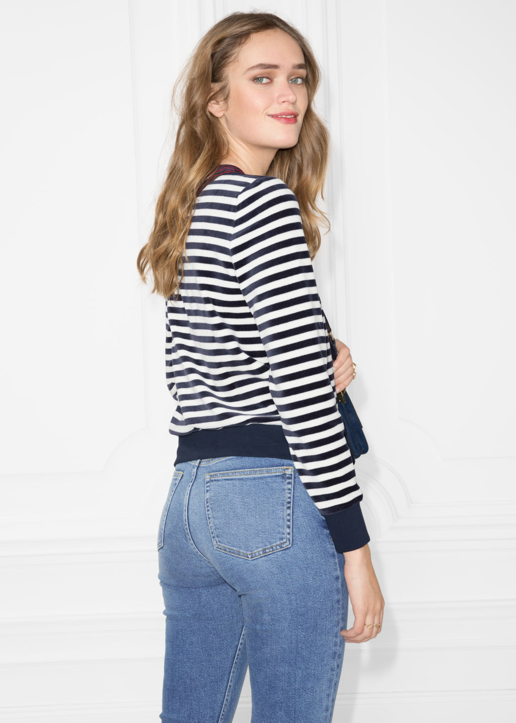 Model back image of Stories bateau neck top in blue