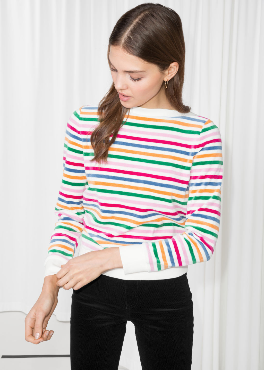Model front image of Stories bateau neck top in white